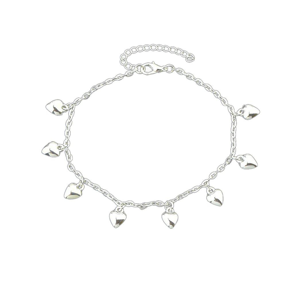 Cheap Silver Color Chain Heart Pattern Anklets