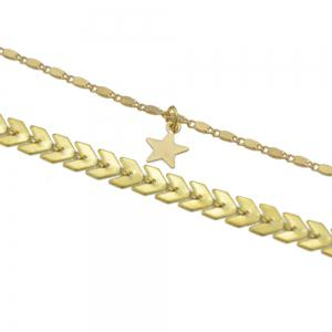 Gold Silver Color Chain Star Charm Anklets -