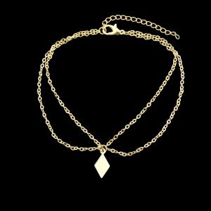 Gold Silver Color Multi Layer Chain Rhombus Anklets -