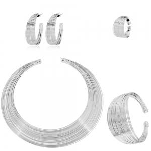 Fashion Striped Metal Collar Necklace Set of Four Bracelet Ring Earring -