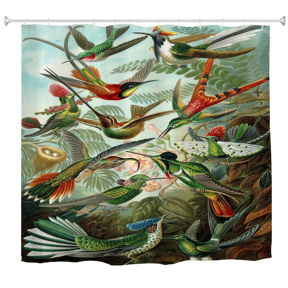 Chic Hummingbird Group Water Proof Polyester 3D Printing Bathroom Shower  Curtain