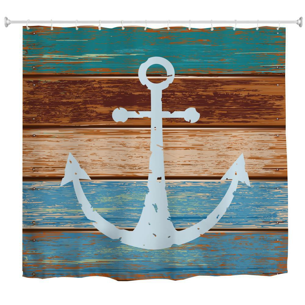 Board Anchor Water-Proof Polyester 3D Printing Bathroom Shower Curtain
