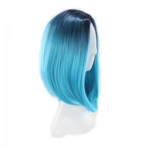 Short Straight Bobo Head High Temperature Silk Dyed Wig Simulation Scalp -