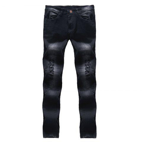 Sale 2018 New Men's Fashion Solid Wash Pleated Slim Slim Fit Jeans