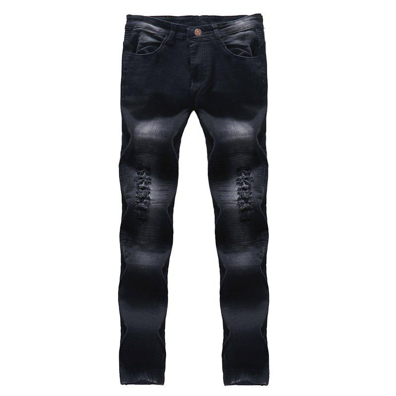 2018 New Men's Fashion Solid Plissé Slim Slim Fit Jeans