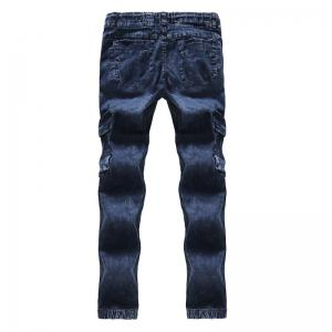 2018 New Men's Fashion Pleated Washable Elastic Tether Casual Jeans -