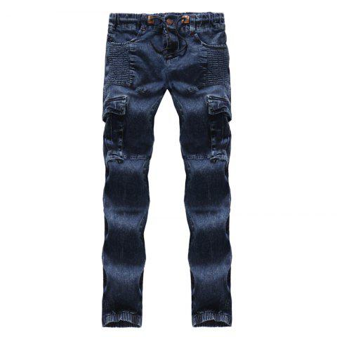 New 2018 New Men's Fashion Pleated Washable Elastic Tether Casual Jeans