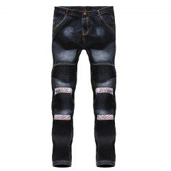 2018 Men's Floral Patchwork Pleated Casual Jeans -