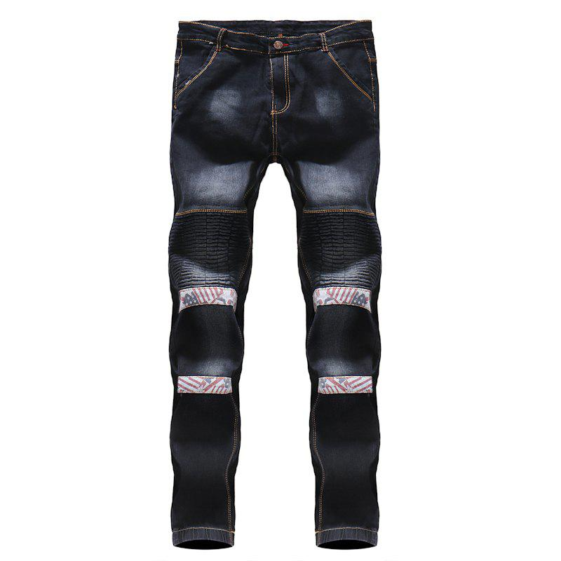 Shops 2018 Men's Floral Patchwork Pleated Casual Jeans