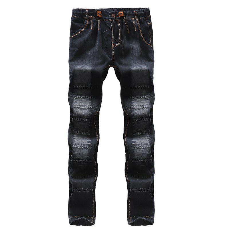 Fashion 2018 New Men's Fashion Elasticated Belt Casual Jeans