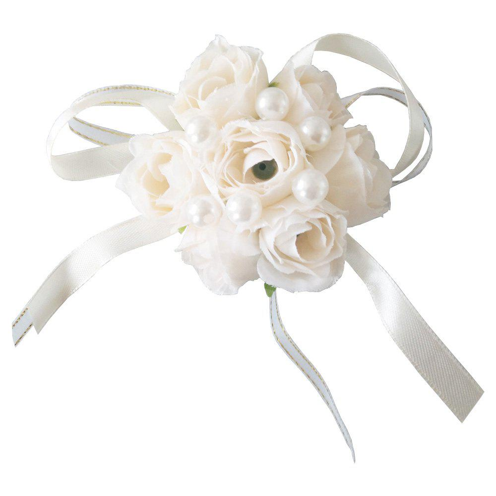 Shops New Rose Emulational Pearl Wrist Flower Decoration Wedding Special Occasion Use