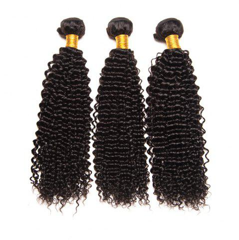 Chic Natural Black Brazilian Virgin Human Hair Kinky Curly Weave Extensions Bundles