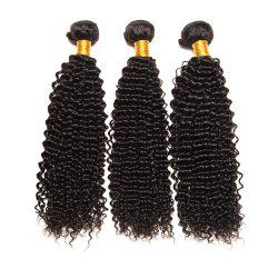 Natural Black Brazilian Virgin Human Hair Kinky Curly Weave Extensions Bundles -