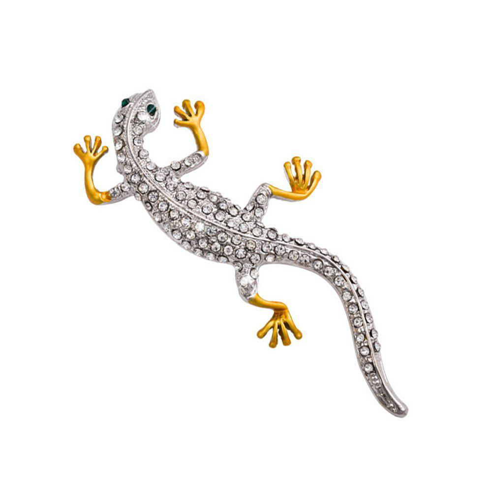 Discount Fashion Gecko Brooch for Man Rhinestone Brooches Pins Animal Jewelry Gift