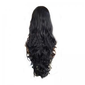 Long Curly Black Large Wave Chemical Fiber Front Lace Wig -
