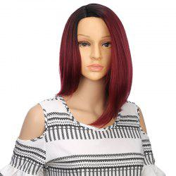 Straight Short Hair Red Ombre Medium Bob Cut Synthetic Middle Part Wig for Girl -