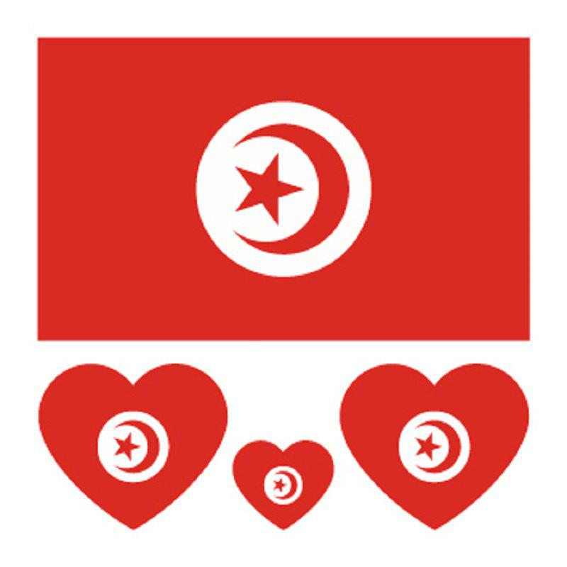 Online Football Tunisian Flag Tattoo Body Sticker