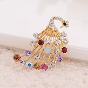Elegant Peacock Shape Brooch Alloy and Rhinestone Clothes Decoration -