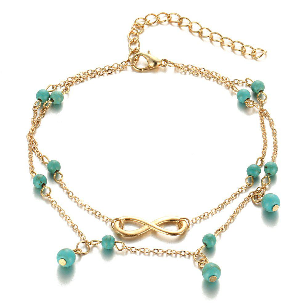 Hot Fashion Simple Multi-Layer Turquoise Pendant Anklet