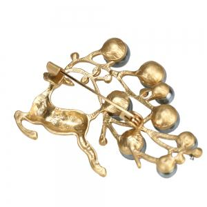 PULATU Diamond Simulate-Pearl Fawn Brooch B1L4-11 -