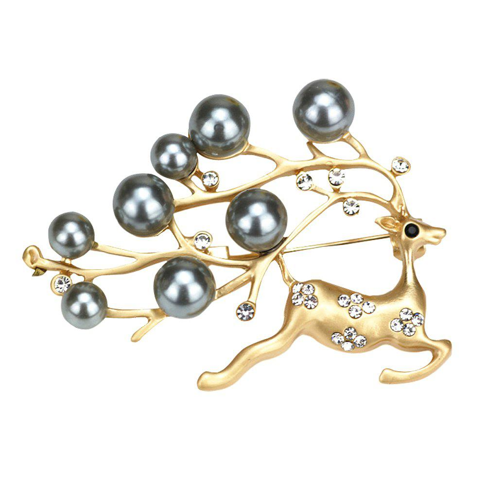PULATU Diamond Simulate-Pearl Fawn Brooch B1L4-11