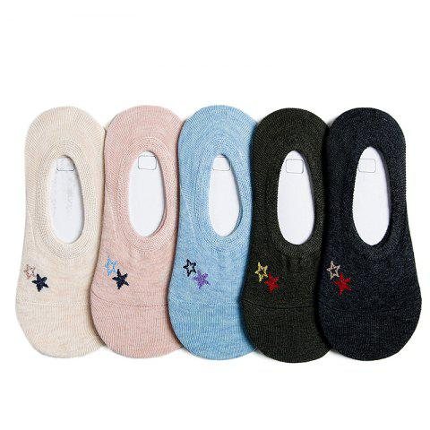 Latest Summer Breathable Female Ship Socks Five Double Color Mix and Match
