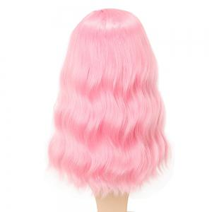 Moelleux Rose Charme Cheveux Longs Synthétiques Cheveux Cosplay Perruques Milieu Parting -