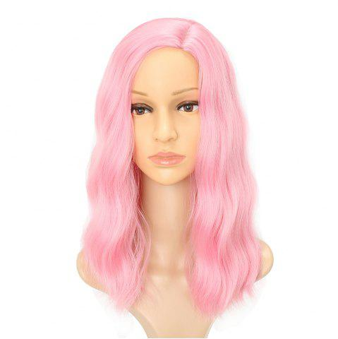 Moelleux Rose Charme Cheveux Longs Synthétiques Cheveux Cosplay Perruques Milieu Parting