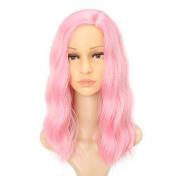 Fluffy Pink Charming Wavy Synthetic Long Hair Party Cosplay Wigs Middle Parting -