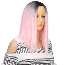 Light Pink Ombre Bob Synthetic Middle Part Straight Short Hair Wig for Girl -