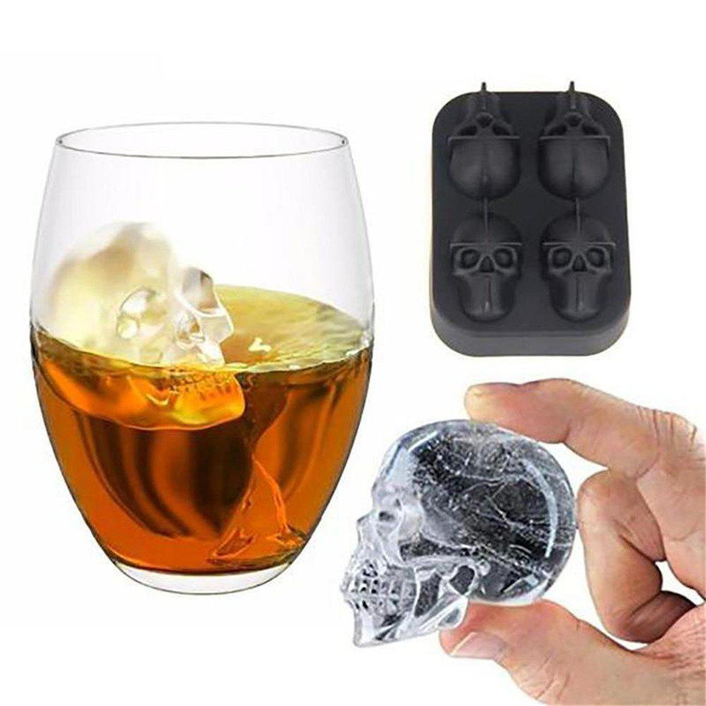 Discount 3D Skull Shape Ice Cube Mold Maker Bar Party Trays Food Grade Chocolate Mould