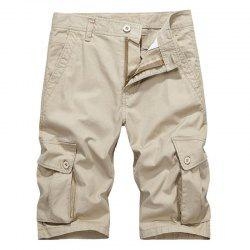 Men Plus Size Summer Pockets Straight Tooling Shorts -