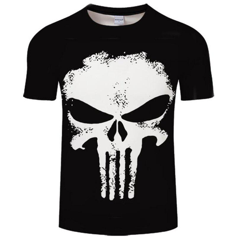 Store Plus Size Men's Casual 3D Skull Print Short Sleeves T-shirt