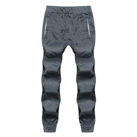 Fashion 2018 New Men's Fashion Solid Color Rope Elastic Waist Casual Pants