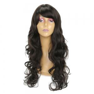 Charming Super Long Wavy Hair Black Color Heat Resistant Synthetic Wig for Women -