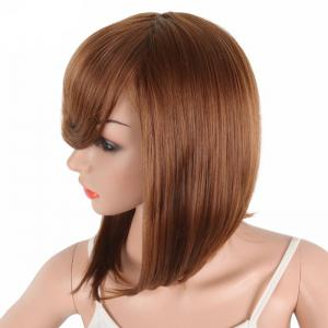 Bob Wine Red Natural Straight Synthetic Wigs for Women Side Bang -