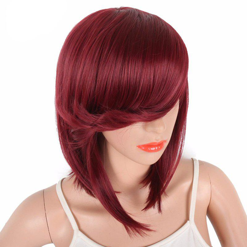 Latest Bob Wine Red Natural Straight Synthetic Wigs for Women Side Bang