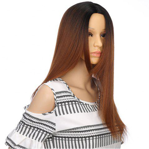 European Style Silver Gray Ombre Long Straight Synthetic Hair Wigs