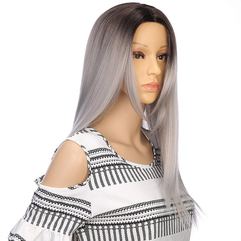 Unique European Style Silver Gray Ombre Long Straight Synthetic Hair Wigs