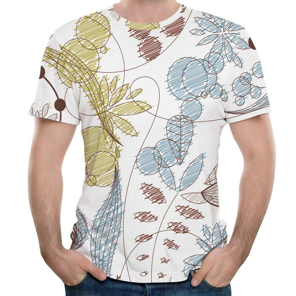 Online 2018 Men's Summer New 3D Graffiti Printed Round Neck Short Sleeve T-shirt
