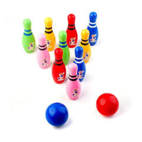 Outdoor Children Wooden Bowling Interesting Toys