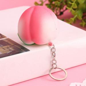Mini Squishy Soft Toys Pendants Peach Shape Keychain -