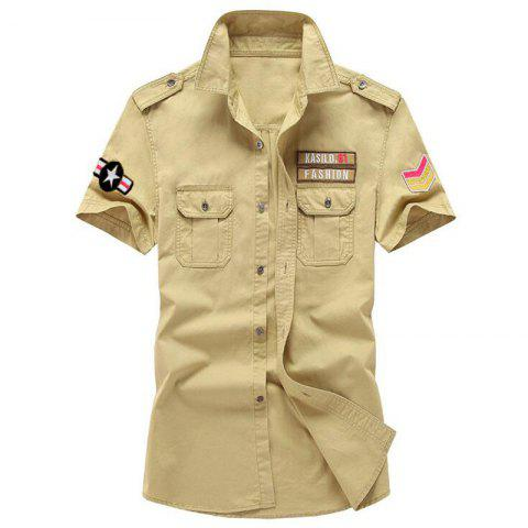Store Plus Size Men's Military Pocket Epaulet Short Sleeve Cotton Shirt