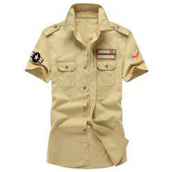 Plus Size Men's Military Pocket Epaulet Short Sleeve Cotton Shirt -