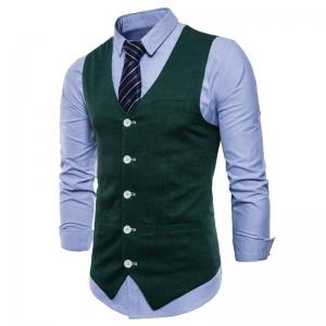 Men Pure Color Cotton Suit Vest -
