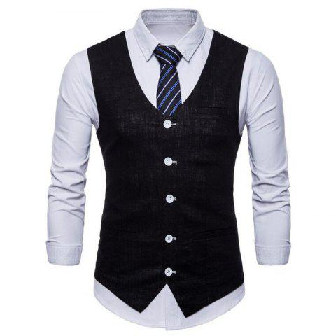 Discount Men Pure Color Cotton Suit Vest