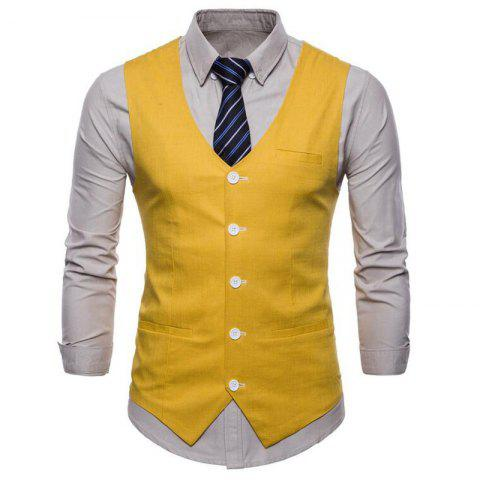 Fancy Men Pure Color Cotton Suit Vest