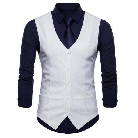 Sale Plus Size Men Pure Color Cotton Suit Vest