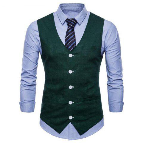Cheap Plus Size Men Pure Color Cotton Suit Vest