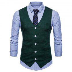 Plus Size Men Pure Color Cotton Suit Vest -